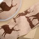 Hessian Wired Edge Ribbon 60mm Christmas Reindeer Stag Jute Xmas Festive