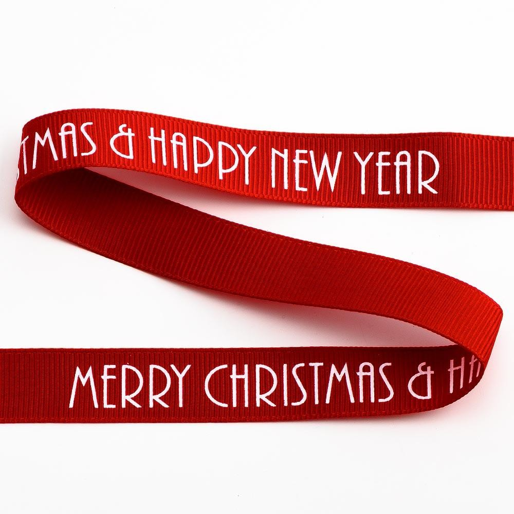Merry Christmas & Happy New Year Ribbon 16mm x 5m