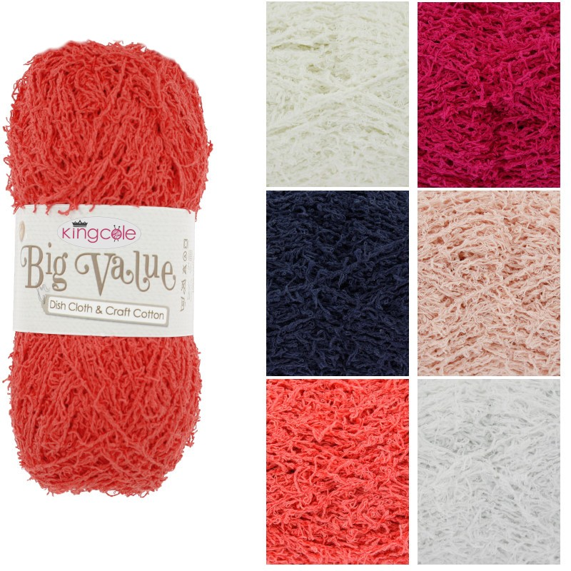 King Cole Big Value Dish Cloth & Craft Cotton Knitting Crochet Yarn 100g Ball