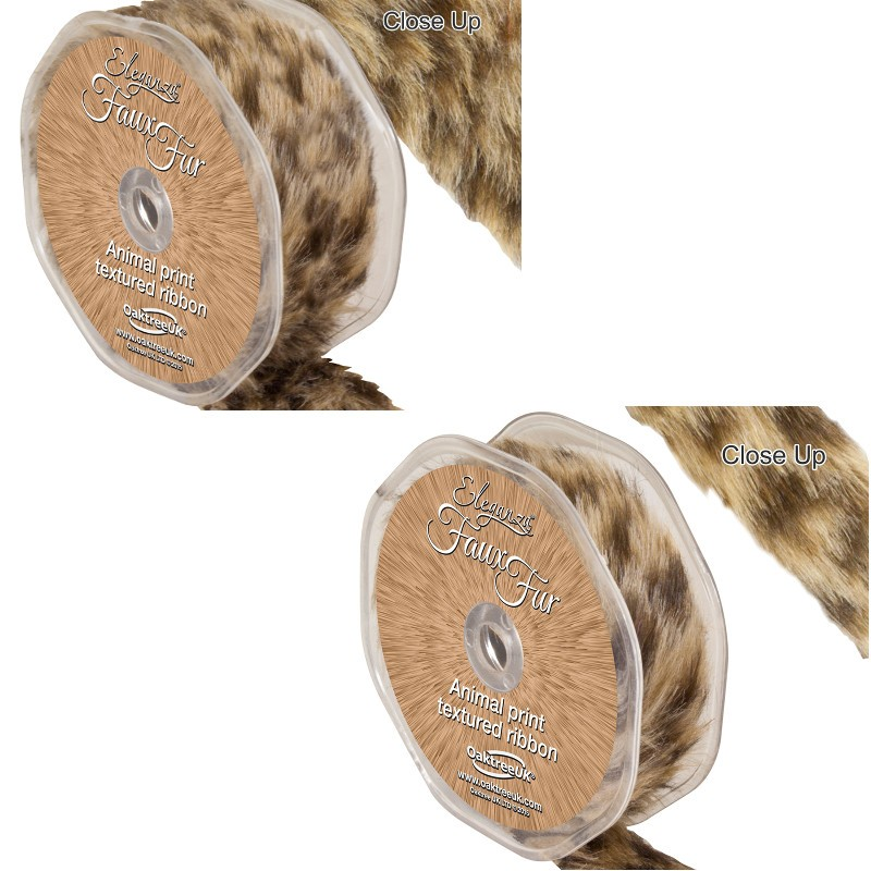 25mm Eleganza Faux Fur Animal Print Textured Ribbon  38mm or 25mm x 1.5m