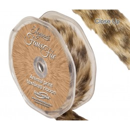 25mm Eleganza Faux Fur Animal Print Textured Ribbon  38mm or 25mm x 1.5m