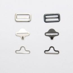 Bow Tie Fastener 19mm 3 Piece Set Black or Silver