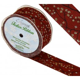 Red Eleganza 38mm Wired Edge Ribbon Christmas Glitter Berries Holly Xmas