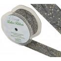 Grey Eleganza 38mm Wired Edge Ribbon Christmas Glitter Berries Holly Xmas