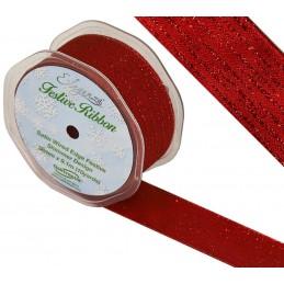 Red Eleganza 38mm Satin Wired Edge Festive Shimmer Christmas Wedding