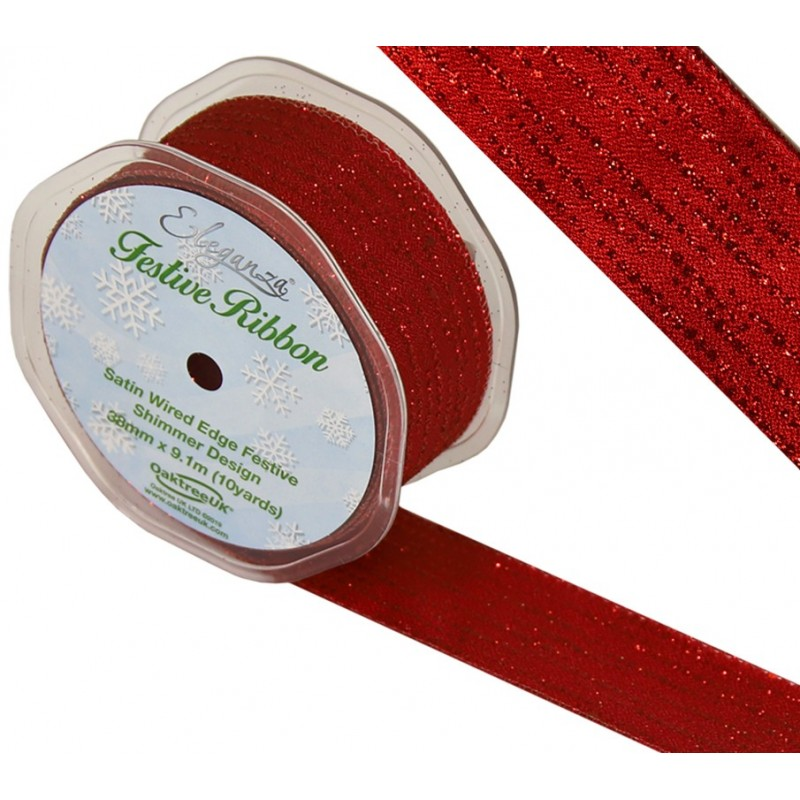 Red Eleganza 38mm Satin Wired Edge Festive Shimmer Christmas Wedding