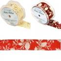 Eleganza 38mm Wired Edge Ribbon Holly Berries Mistletoe