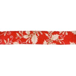 Red Eleganza 38mm Wired Edge Ribbon Holly Berries Mistletoe
