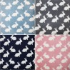 Printed Polar Anti Pil Fleece Fabric White Bunny Rabbits Bunnies Cute Animals