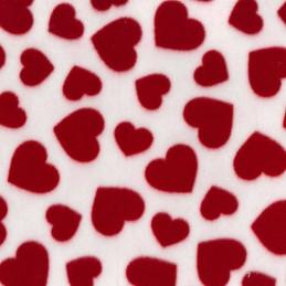 Red Printed Polar Anti Pil Fleece Fabric Valentines Hearts Love Romance Blanket