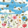 100% Cotton Patchwork Fabric Nutex Bee Haven Buzzing Bumble Bees Floral Flower