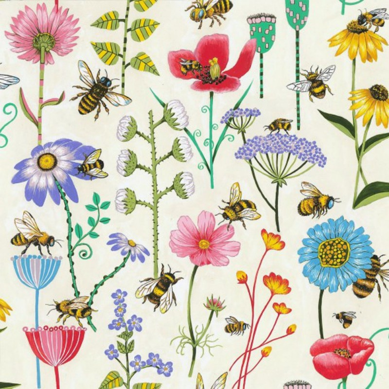 Flower Field 100% Cotton Patchwork Fabric Nutex Bee Haven Buzzing Bumble Bees Floral Flower