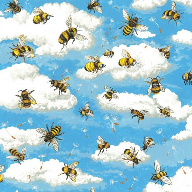 Bumble Bees 100% Cotton Patchwork Fabric Nutex Bee Haven Buzzing Bumble Bees Floral Flower
