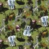 100% Cotton Poplin Fabric Rose & Hubble Safari Animals Elephant Giraffe Flamingo