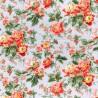 100% Cotton Poplin Fabric Rose & Hubble Carnation Floral Flower