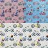 100% Cotton Poplin Fabric City Push Bikes Balloons Flower Basket Bicycle