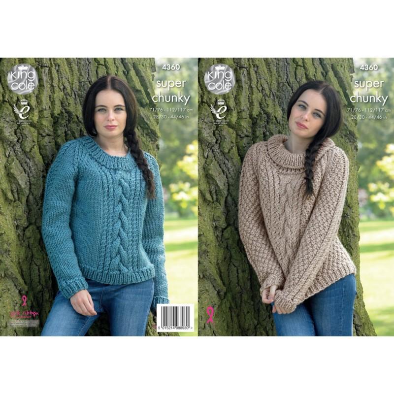 King Cole Knitting Pattern Size 71//76-112//117cm Sweaters 4360