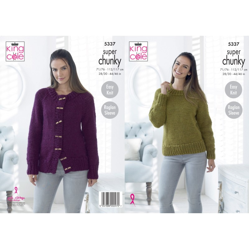 King Cole Ladies Knitting Pattern Womens Super Chunky Jacket Sweater Hat 3816