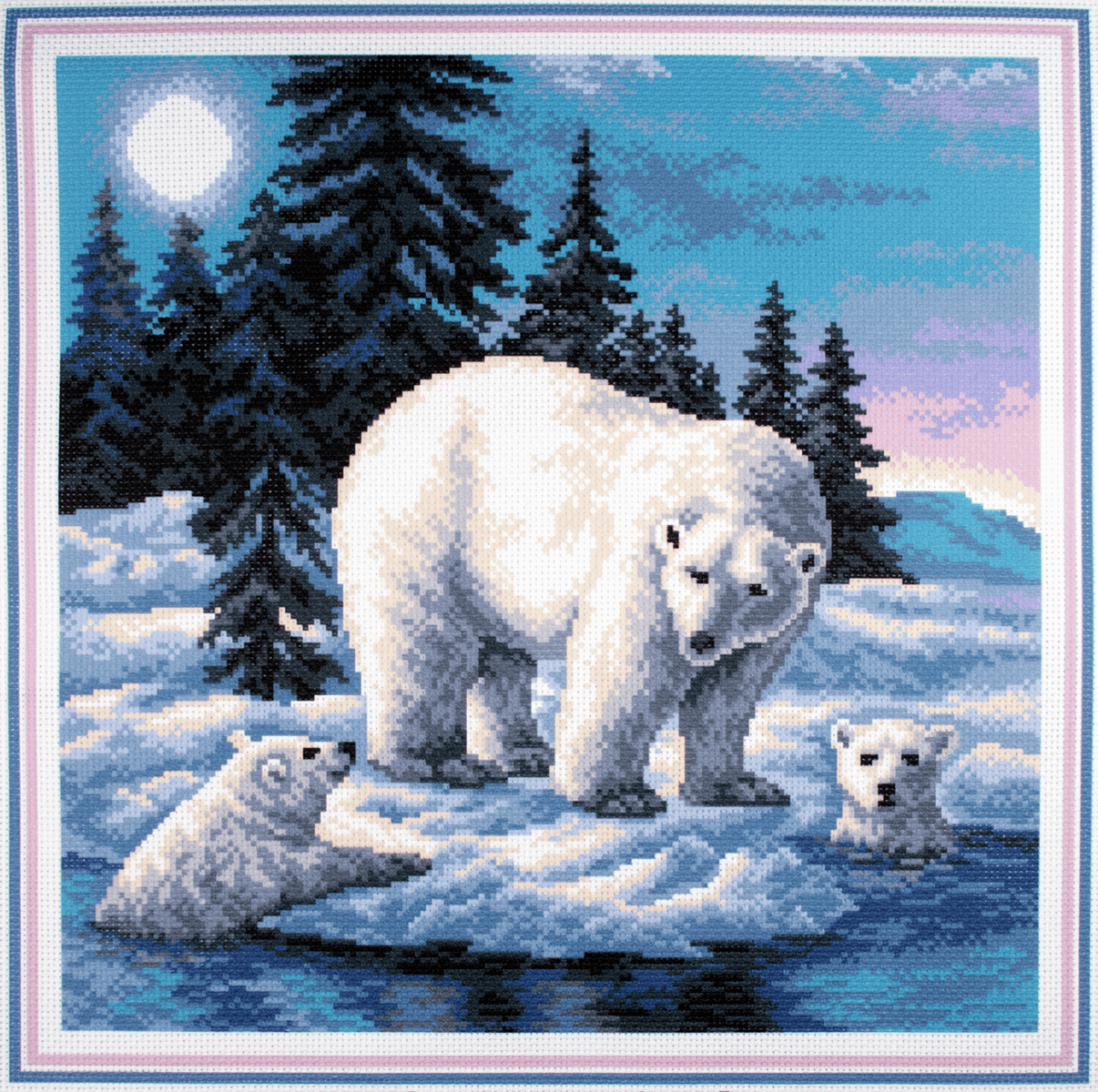 Collection dArt Polar Bear Cute Family Printed 14 Count Cotton Aida Canvas Cross Stitch