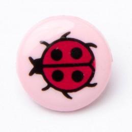 Ladybirds Ladybugs Button Shank Round Plastic Novelty Pink