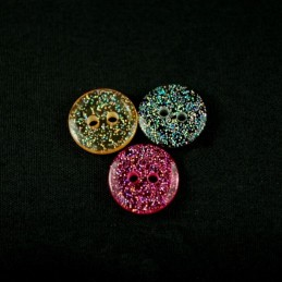 12mm Transparent Glittery Acrylic Plastic Buttons