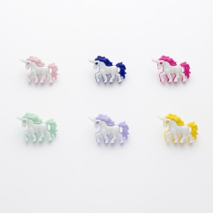 Yellow Unicorn Shaped Button 25mm Plastic Shank Novelty