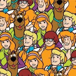 100% Cotton Fabric Scooby Doo & Gang Bunched Collage Dafney Velma Shaggy & Fred