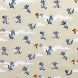 100% Cotton Digital Fabric Tom And Jerry Nibbles Warner Bros Sky Clouds