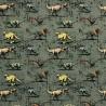 100% Cotton Digital Fabric Jurassic Park Dinosaur T-Rex Raptor Triceratops