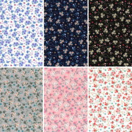 100% Cotton Poplin Fabric Rose & Hubble Flowers Floral Ditsy Reservoir Road