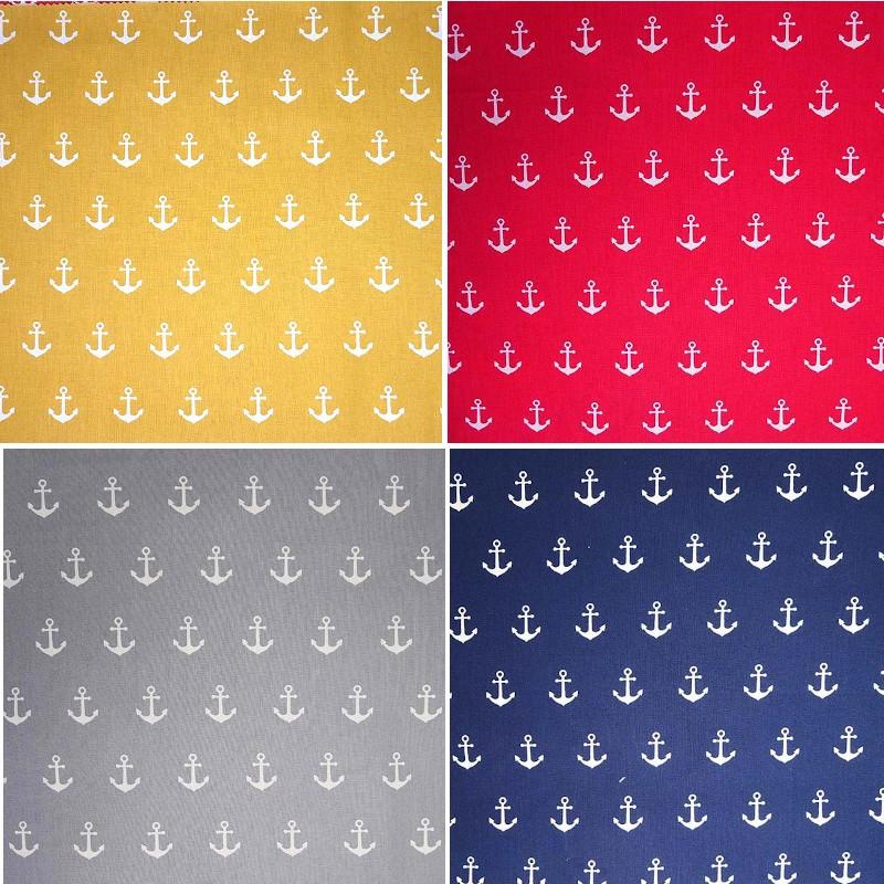 Yellow 100% Cotton Fabric Floral Anchors Nautical Sailors Sailing