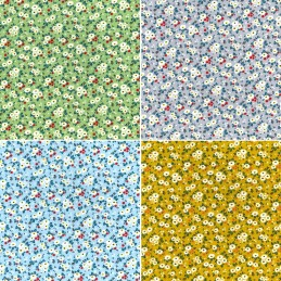 100% Cotton Poplin Fabric Rose & Hubble Trio of Tiny Flower Buds Floral Flowers