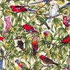 100% Cotton Fabric Nutex Birds In Paradise Cockatoo Kookaburra Parrots Galah