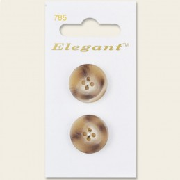 Sirdar Elegant Round Tortoiseshell Plastic Button Beige 19mm 4 Hole Pack of 2