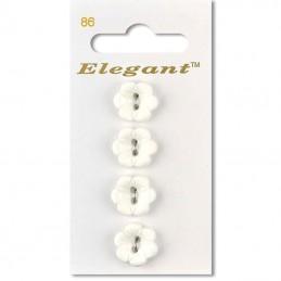 Sirdar Elegant Flower Shaped Plastic Button White 16mm 2 Hole Pack of 4