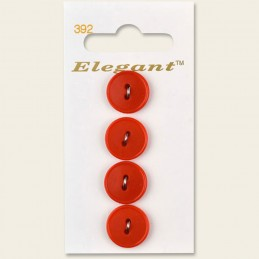Sirdar Elegant Round Rimmed Edge Plastic Button Red 16mm 2 Hole Pack of 4