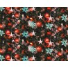 100% Cotton Digital Fabric Christmas Tree Baubles Snowflakes Tinsel 150cm Wide
