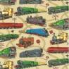 100% Cotton Fabric Nutex Loco Motion Steam Train Tracks Locomotive Patchwork