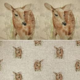 Cotton Rich Linen Look Fabric Deer Forest Grass Curtain Upholstery Cushion Panel