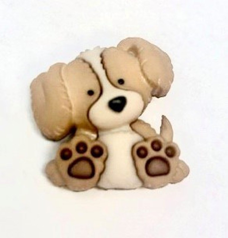 Cute Puppy Paws Dog Button...