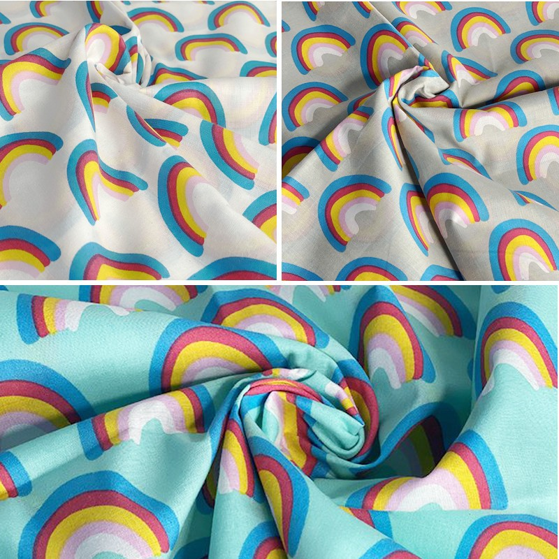 Polycotton Fabric Rainbow...