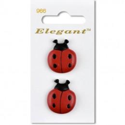 Sirdar Elegant Ladybird Plastic Button 28mm Shank Pack of 2
