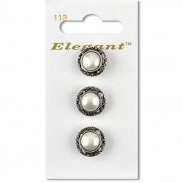 Sirdar Elegant Pearlescent Ornate Vintage Button Antique Silver 16mm Shank 3 Pack