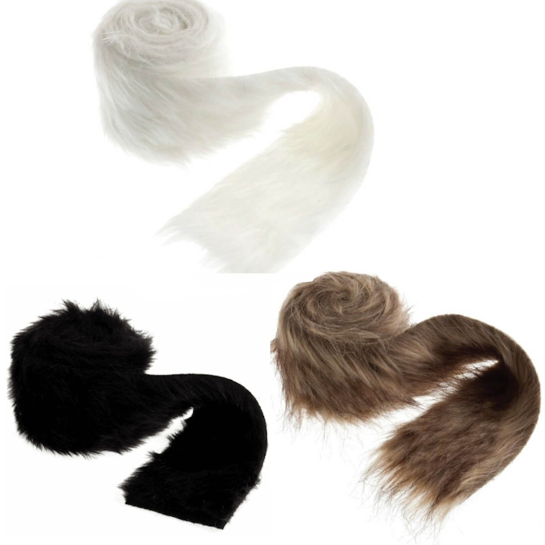 2m x 80mm Luxury Faux Fur Trim Costume Toy White And Brown