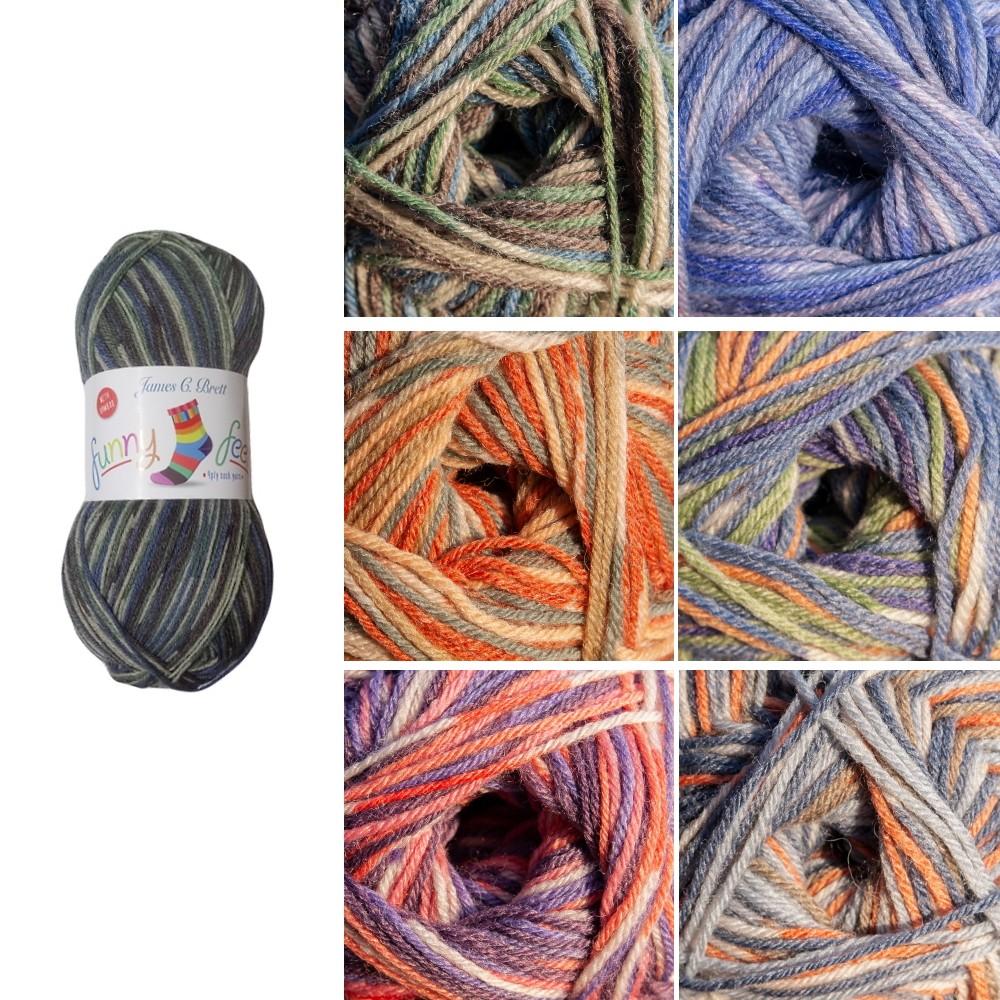 James C Brett Funny Feetz With Bamboo 4 Ply Sock Yarn 100g Ball Knitting Yarn Knit Craft FZB02