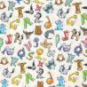 100% Cotton Fabric Animal Alphabet Cat Fox Unicorn Giraffe 140cm Wide Crafty