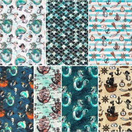100% Cotton Fabric Merboys Dragon Pirates Nautical Childrens 140cm Wide Crafty