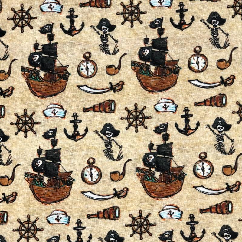 Pirate Ships & Skeletons Beige