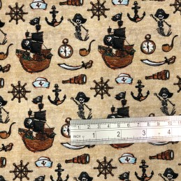 Pirate Ships & Skeletons Beige Scale