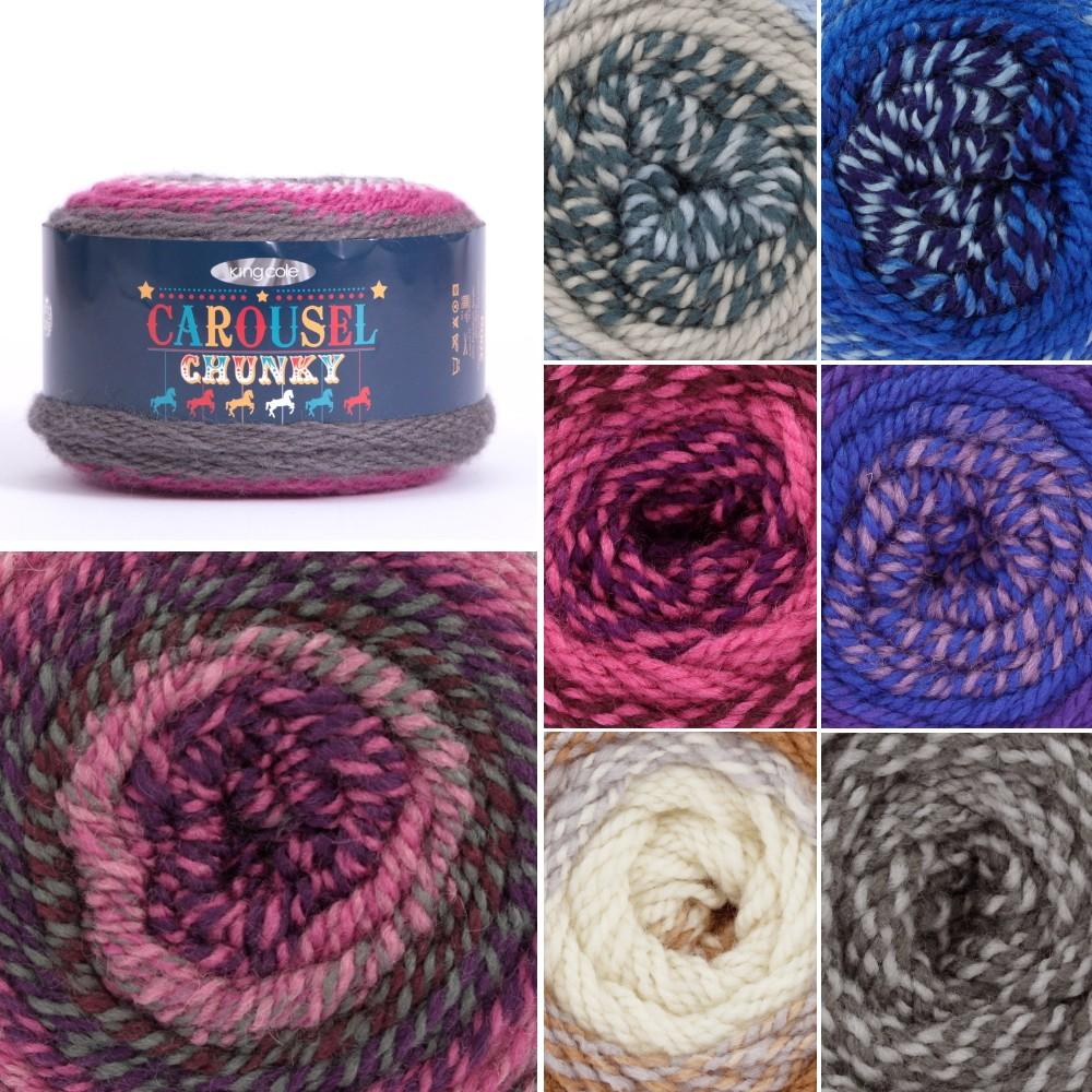 SALE King Cole Carousel Chunky Cake Striped Knitting Yarn Acrylic 200g Wool 2770 Speedway